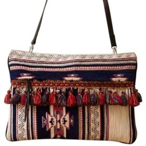 Clutch Moroccan Convertable Navy Red Gold Textile